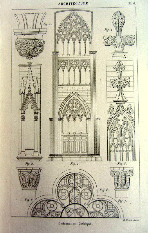 1852 ancient gothic ornaments decoration print antique for Copy architectural plans