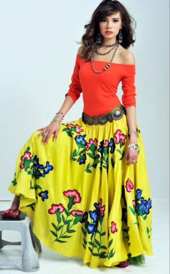 "✢ STYLE ✢ Viva Mexico | ROJA ""SUNRISE"" SILK/HAND EMBROIDERED SKIRT! -"