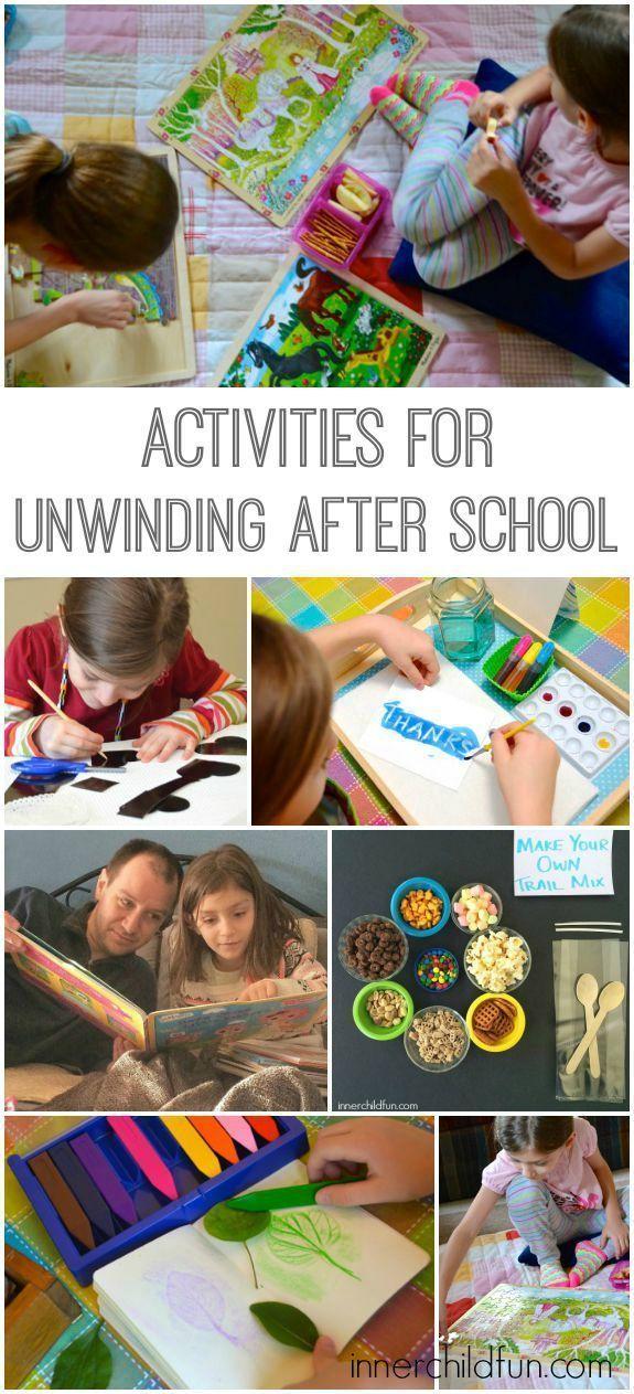 Activities to help kids unwind after school - love these!!