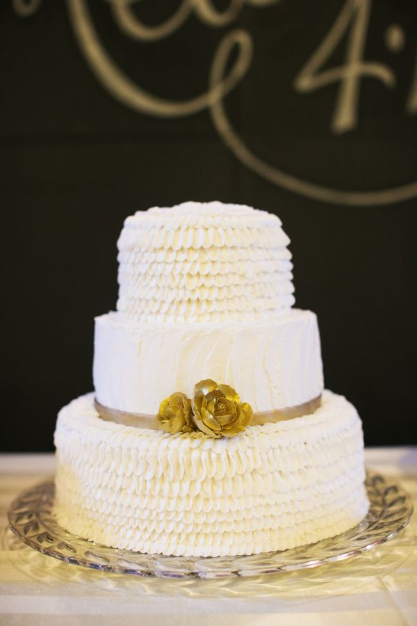 white ruffles + gold roses // photo by EE Photo // cake by Sweet Treasures // View more: http://ruffledblog.com/sweet-oklahoma-wedding/
