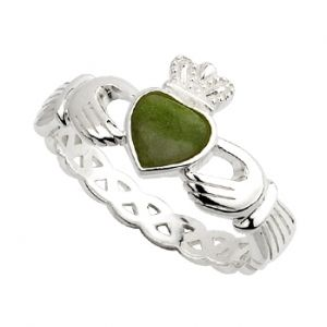 Ladys Silver Claddagh Ring with Connemara Marble Heart