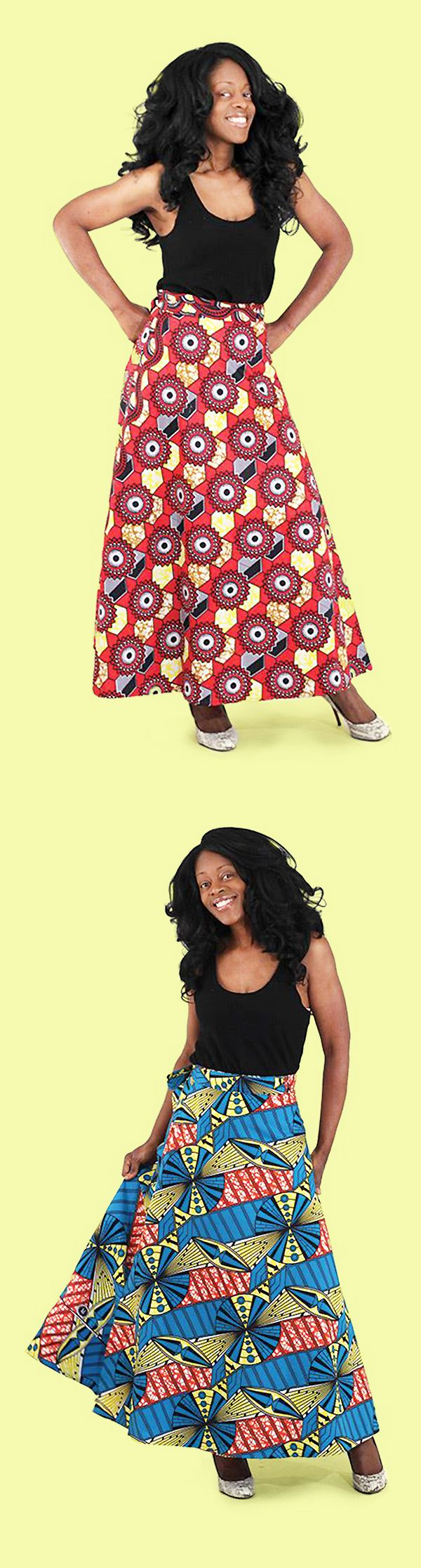 African Wrap Skirt with traditional African prints - This comfortable yet dressy wrap skirt is perfect for wearing to work or to an event.  Each skirt is printed with traditional African pattern and colors.  Skirts come in red, yellow, blue, and many more colors!  #skirt #dressy #dressup #color #pattern #africanpattern #africa #african #dressycasual #womensfashion #fashion