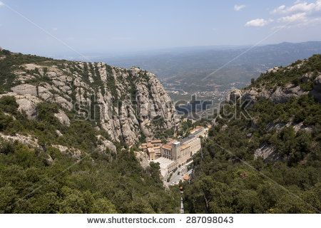 The buildings of the monastery of Montserrat, top view. Spain, Barcelona