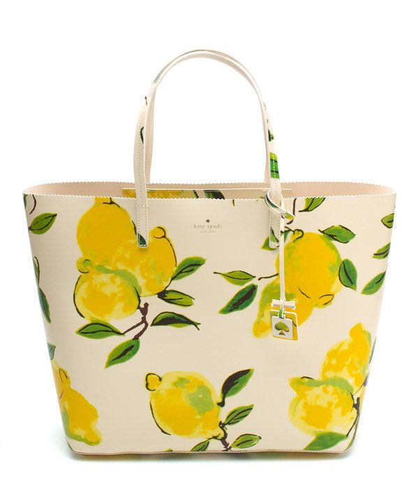 Look at this Kate Spade Painterly Lemon Street Len Leather Tote on #zulily today!
