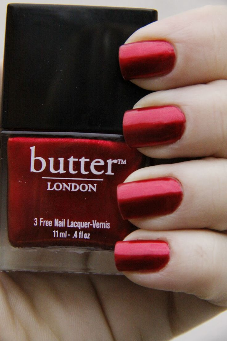 "A classic red. Butter London Nail Polish - ""Knees Up"". I have this, my nail tech was amazed at the texture of color"
