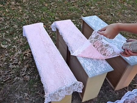 1. Lay a strip of lace on top of your drawer.  2. Spray-paint right over it and let it dry a bit.  3. Remove lace from insert dresser drawer...
