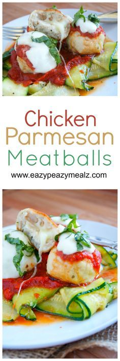 Chicken Parmesan Meatballs Stuffed with Mozzarella: Cheaper than ground beef, healthier, and so tasty! These are really easy to make and perfect for dinner or game day! - Eazy Peazy Mealz