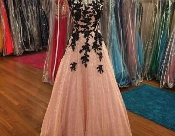 Sexy Black Lace With Coral Lace A Line Formal Dresses With Short Sleeve Applique Full Length Cheap P on Luulla
