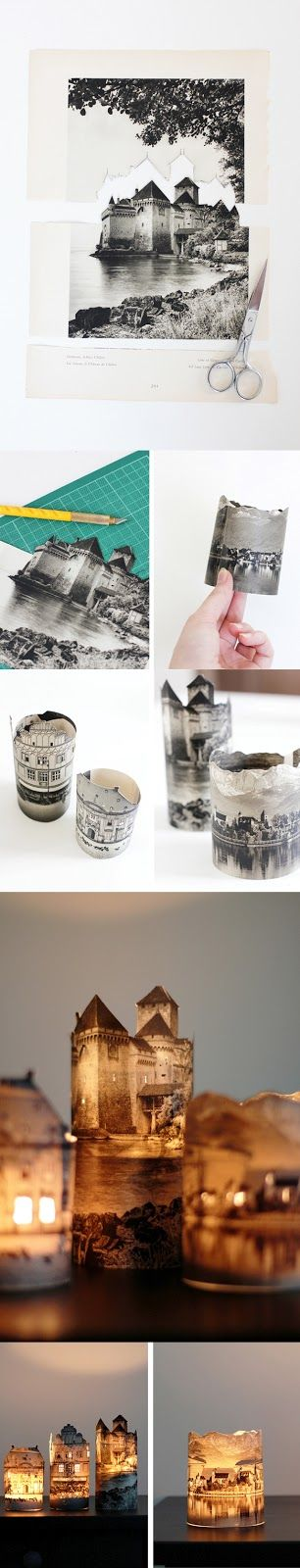 DIY Houses by Night ~ Wedding picture with church in background ~ Our favorite Vacation photos ~ great for entry way display!
