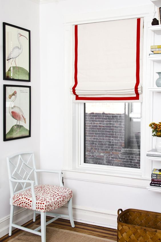 Flat Roman Shade White with the red trim by AspectCreativeAgency