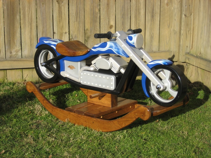 Chace, The Chopper - Custom Designed Wooden Motorcycle Rocker. $3,500.00, via Etsy.