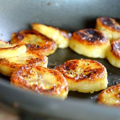 """Fried"" honey banana. Only honey, banana and cinnamon."