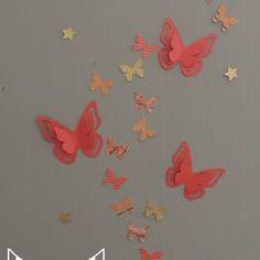 25 stickers  papillons - corail abricot pêche gris et doré - décoration chambre enfant bébé fille - décoration pièce à vivre - mariage baptême anniversaire