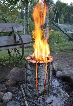 A log and a chain saw are all you need to create this mesmerizing fuel source that burns for hours.   A little lighter fluid at the inside base of the log helps start the fire.  Smoke Free