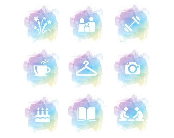 Instagram Story Highlight Icons Watercolor Cover Rainbow Pastel