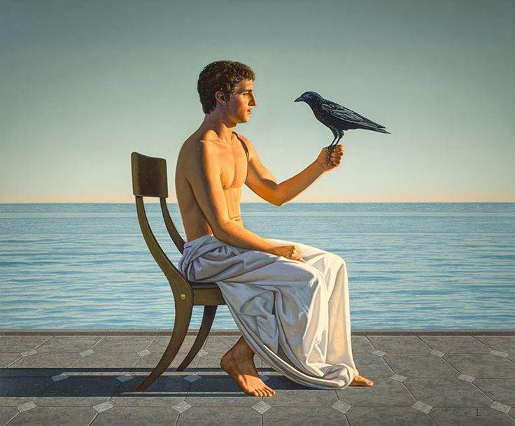 """Man with Crow"" - David Ligare"