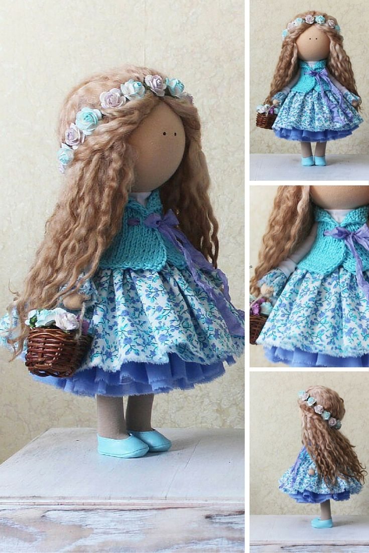 Tilda doll Rag doll handmade doll blonde curly blue colors Love doll Textile…