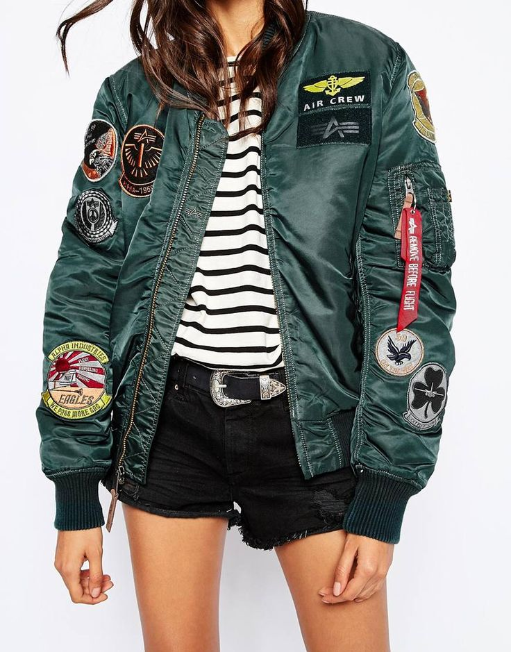 Image 3 ofAlpha Industries Ma1 Pilot Bomber Jacket With All Over Patch Detail