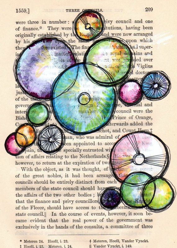 colorful geometric circles 3 Councils  5x7 print of an by Cookstah, $8.00