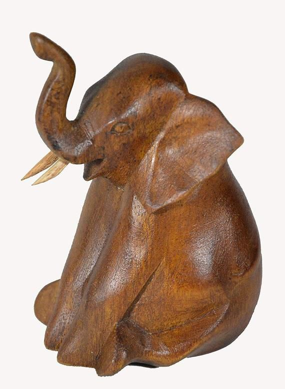 Hand Carved Mahogany Elephant Table Top Carving Statue Sculpture African Asian Decor In 2020 Elephant Table Asian Decor African Pottery