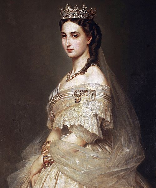 Retrato de la Emperatriz Carlota, esposa de Maximiliano de Habsburgo (México) A la muerte de su esposo y regresar a Europa, la invadió la locura por su tristeza...