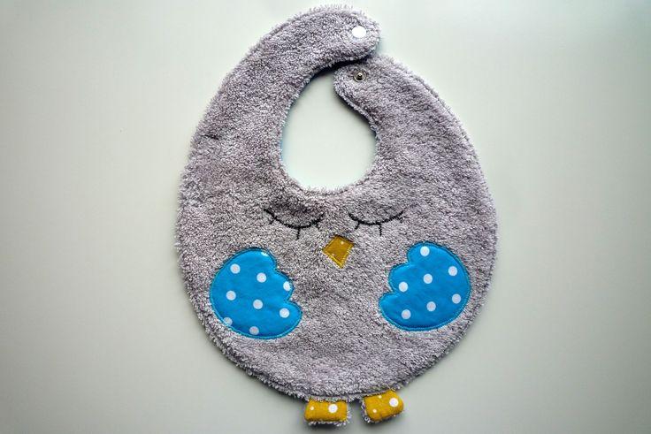 Bavoir réversible bébé premier âge, hibou endormi : Mode Bébé par coquettes-chaufferettes