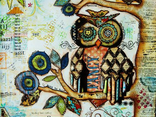 Mixed Media #4 (Owl detail)