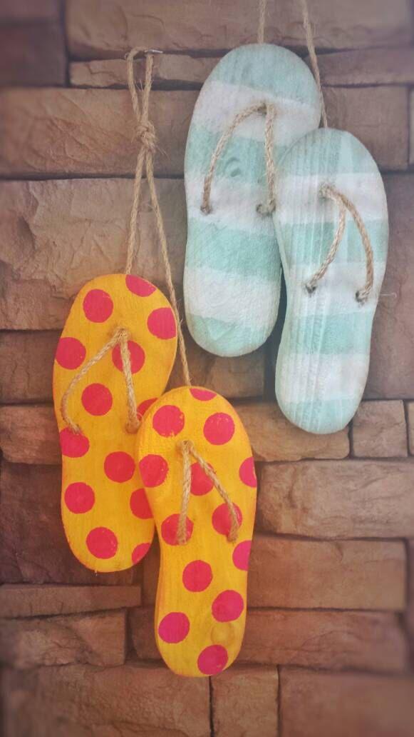 Flip Flop Decor - Wooden Flip Flops - Summer Decorations - Summer Wreath - Beach Decor by SarahBerryDesigns on Etsy https://www.etsy.com/listing/278203772/flip-flop-decor-wooden-flip-flops-summer