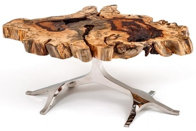 Tree of Life Coffee Table - Shown in Exotic Burl Wood Live Edge Slab - Item #CT03122 - Also Available in Black Walnut, Cherry, Maple & Redwood - Custom Sizes Available