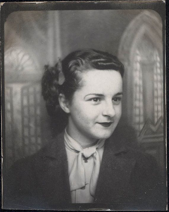 vintage photo Photo Booth Young Woman Lipstick Church by maclancy