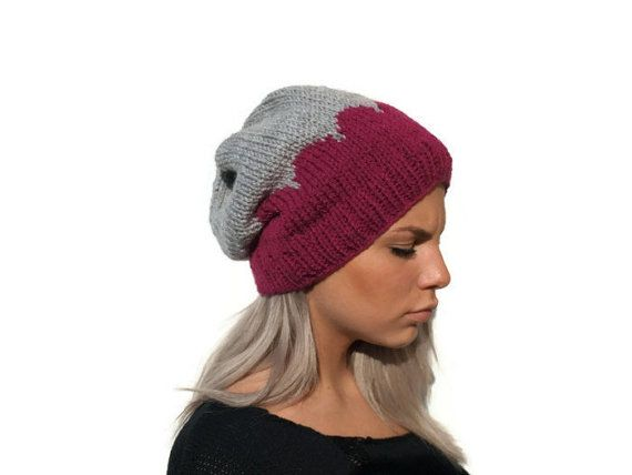 Slouchy Knit hat / Woman hat / Hand knitted hat gray by PepperKnit