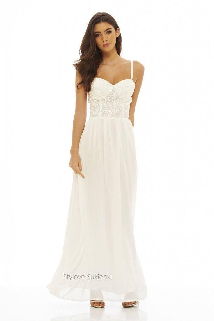 Dostępne różne rozmiary – niesamowita sukienka w apetycznym białym kolorze – przepiękny, koronkowy gorset serduszko, zmysłowo prezentuje kobiecy dekolt i ramiona – cieniutkie ramiączka mają możliwość regulacji, dzięki czemu idealnie dopasujesz sukienkę do swojej figury – miseczki są usztywniane co sprawi, że biust wygląda kusząco i ponętnie – tył gorsetu gładki – dół sukienki to