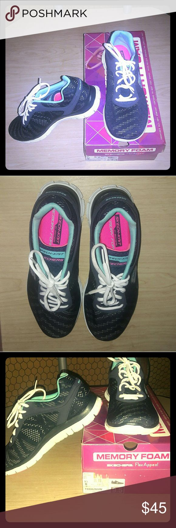 """NIB Skechers Memory Foam Sneakers. Size: 9.5 + Surprise freebies with every purchase + NIB New and never worn. Skechers brand """" First Glance"""" Memory Foam Sneakers in navy and white with magenta inside. Padded insole with memory foam and mesh textured outsole. Approximately 1-1/4""""H heel. Very comfortable. Women's size: 9.5   * Bundle 2 or more listings and save 15% * Skechers Shoes Sneakers"""