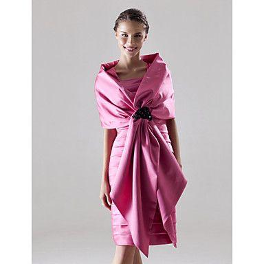 Sheath / Column Square Knee-length Satin Bridesmaid/ Wedding Party Dress With A Wrap – USD $ 148.49
