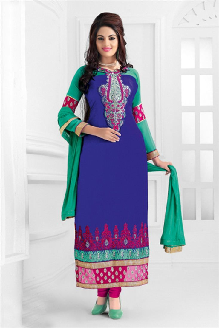Blue Georgette Festive Wear Semi-Stitched Straight Cut Suit