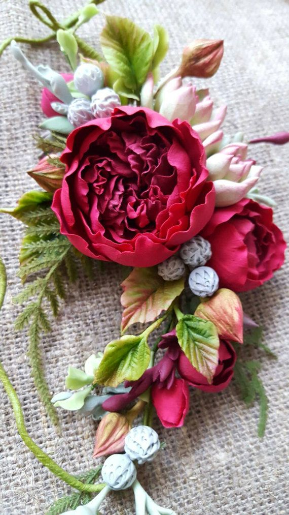 Burgundy peony rose flower headband Rustic bridal flower crown