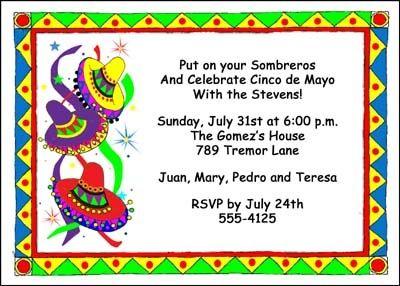 find lots of sombrero cinco de mayo party invitation