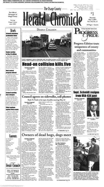 Osage County Herald-Chronicle (Burlingame, Kansasa) newspaper archive - http://osg.stparchive.com/