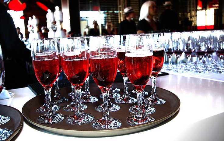 Guests were greeted with Champagne with Red Hibiscus!