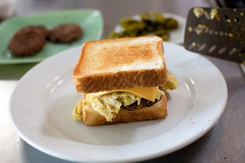 The Pioneer Woman's Cowboy Breakfast Sandwhich (Egg, Cheese, Sausage, Jalapeno, and texas toast) YUM!