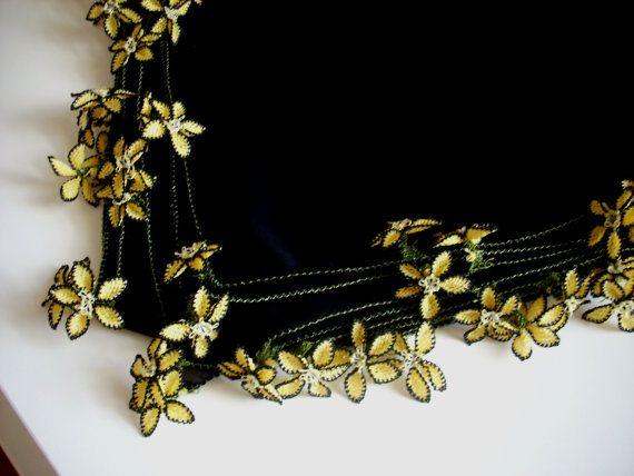 crepe scarf shawl wedding needle lace hand by AnatolianWedding, $75.00