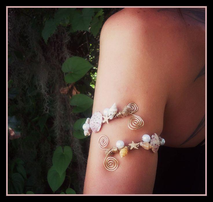 Mermaid seashell armband arm cuff wire wrapped