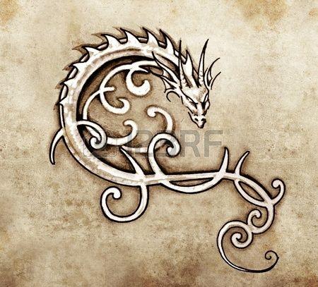 Skizze der Tattoo Kunst dekorative Drachen Lizenzfreie Bilder
