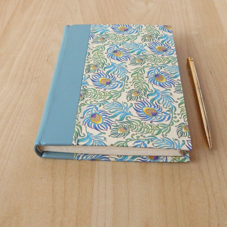 Book Cover Handmade Quilts : Peacock feather journal italian paper cover with leather