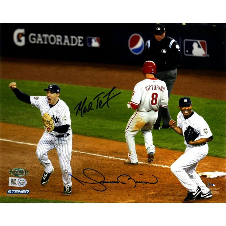 Mark Teixeira & Mariano Rivera Dual Signed 2009 World Series Final Out 8x10 Photo (MLB Auth)
