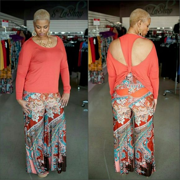Peach T Top and Emerald Palazzo Pants Model shown wearing Large in both. Buy whole outfit for $90 Other