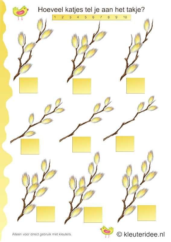 Het is lente, tel de wilgenkatjes, kleuteridee.nl , thema lente, It is spring, count the willow catkins, free printable.