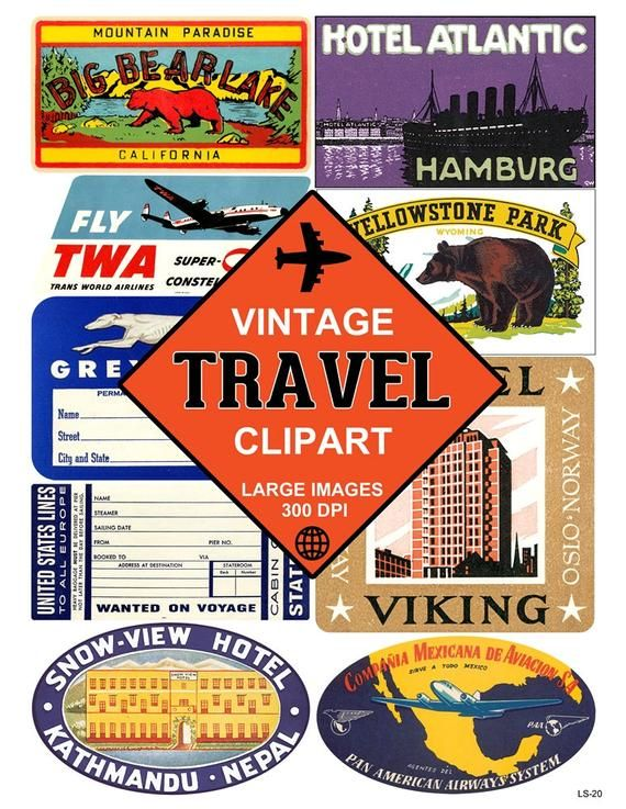 8bb45b0ac429 Travel Luggage Labels Clipart - Graphic Image Set - Printable Retro ...