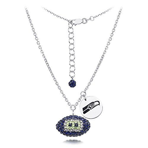 SEATTLE SEAHAWKS FOOTBALL WITH 18 STERLING SILVER NECKLACEAWESOME CRYSTAL FOOTBALL NECKLACE -- Learn more by visiting the image link.