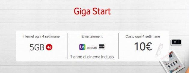 Riparte la Giga Start di Vodafone: 10 per 5GB di traffico dati e 1 anno di cinema